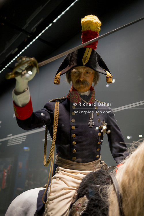 The elderly Prussian commander Blucher sits on his horse, a waxwork exhibit inside the Memorial 1815 exhibition at the Waterloo battlefield, on 25th March 2017, at Waterloo, Belgium. Inaugurated on the battle's bicentenary, visitors experience the history of Napoleonic Europe and the armies of both the French and allied armies on that day. The Battle of Waterloo was fought 18 June 1815. A French army under Napoleon Bonaparte was defeated by two of the armies of the Seventh Coalition: an Anglo-led Allied army under the command of the Duke of Wellington, and a Prussian army under the command of Gebhard Leberecht von Blücher, resulting in 41,000 casualties.