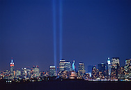 Tribute in Light, vertical columns of light in remembrance of the September 11 attacks on the Twin Towers of the World Trade Center, Manhattan, New York City, New York, USA