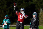 Philadelphia Eagles Carson Wentz QB (11) warms up during the press, training and media day for Philadephia Eagles at London Irish Training Ground, Hazelwood Centre, United Kingdom on 26 October 2018. Picture by Jason Brown.