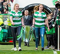 24/05/15 SCOTTISH PREMIERSHIP<br /> CELTIC v INVERNESS CT<br /> CELTIC PARK - GLASGOW<br /> Thale (left) and Live Deila, daughters of Celtic manager Ronny Deila bring the Scottish Premiership trophy onto the park