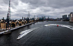 Erik Stark of Maverick F1 (centre) leading during the F1H2O UIM World Championship 2018 Grand Prix of London around Royal Victoria Dock