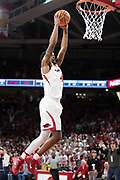 FAYETTEVILLE, AR - FEBRUARY 27:  Daryl Macon #4 of the Arkansas Razorbacks dunks the ball during a game against the Auburn Tigers at Bud Walton Arena on February 27, 2018 in Fayetteville, Arkansas.  (Photo by Wesley Hitt/Getty Images) *** Local Caption *** Daryl Macon
