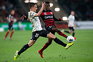 SYDNEY, AUSTRALIA - NOVEMBER 22: Western Sydney Wanderers forward Bruce Kamau (11) and Melbourne Victory forward Elvis Kamsoba (17) contest the ball during the round 7 A-League soccer match between Western Sydney Wanderers FC and Melbourne City FC on November 22, 2019 at Bankwest Stadium in Sydney, Australia. (Photo by Speed Media/Icon Sportswire)