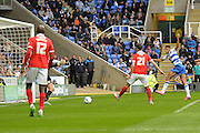 Reading's Nick Blackman (right) scores Reading's first goal during the Sky Bet Championship match between Reading and Charlton Athletic at the Madejski Stadium, Reading, England on 17 October 2015. Photo by Mark Davies.