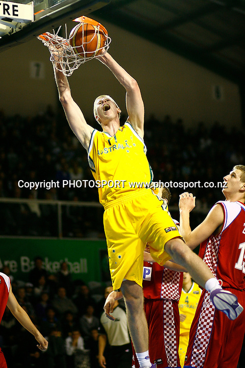 Australia's Brock Motum with a dunk. U19 Basketball World Championship, 3rd and 4th place game, Australia v Croatia, North Shore Events Centre, Auckland. 12 July 2009. Photo: Anthony Au-Yeung/PHOTOSPORT