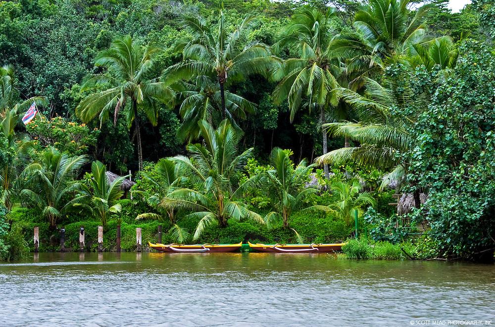 Canoes on Wailua River in Kauai, Hawaii
