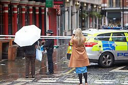 © Licensed to London News Pictures. 03/03/2019. LONDON, UK.  General view of the scene in Romilly Street, Soho following a stabbing at 6am this morning (Sunday). A man in his 30s suffered serious injuries and the Metropolitan Police arrested a women in her 30s at the scene.   Photo credit: Cliff Hide/LNP
