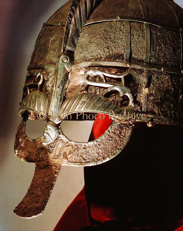 Anglo-Saxon helmet part of the Sutton Hoo treasure excavated near Woodbridge, Suffolk, England, 1939. British Museum