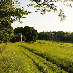 A field and barn at Tufts School of Vet Medicine.  Grafton, Massachusetts.