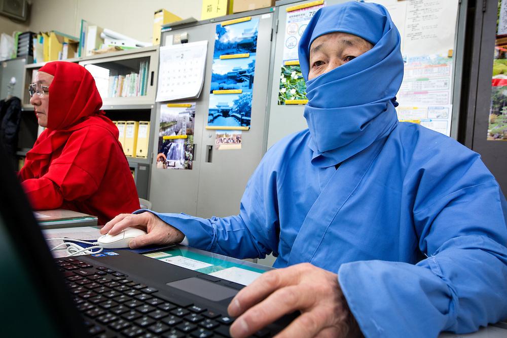 KOKA, JAPAN - FEBRUARY 20 : Koka city tourism division staffs wearing ninja costumes work at the Koka City Hall on February 20, 2017 in Koka, Shiga Prefecture, Japan. Koka city, known as the 'Koga' Ninja clan hometown, promotes the Ninja-day, which is February 22. (Photo by Richard Atrero de Guzman/NUR Photo)
