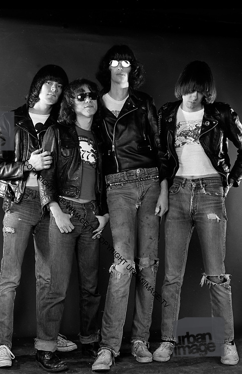 The Ramones - Johnny, Tommy, Joey and Dee Dee pose during a Fulham Studio photosession - London 1976