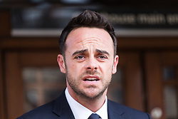 Ant Mc Partlin makes at  statement to the press at Wimbledon Magistrate's Court in London following hid guilty plea to drink driving for which he received a £86,000 fine. London, April 16 2018.