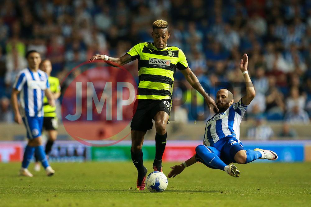 Bruno Saltor of Brighton & Hove Albion tales Tareiq Holmes-Dennis of Huddersfield Town - Mandatory by-line: Jason Brown/JMP - 13/09/2016 - FOOTBALL - Amex Stadium - Brighton, England - Brighton & Hove Albion v Huddersfield Town - Sky Bet Championship