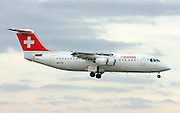 Swiss International Air Lines, British Aerospace Avro 146-RJ100. Photographed at Malpensa airport, Milan, Italy