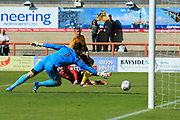 Kevin Ellison of Morecambe scores 1-0 to Morecambe during the EFL Sky Bet League 2 match between Morecambe and Newport County at the Globe Arena, Morecambe, England on 16 September 2017. Photo by Mick Haynes.