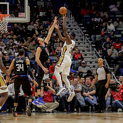 Dec 3, 2018; New Orleans, LA, USA; New Orleans Pelicans forward Julius Randle (30) shoots over LA Clippers forward Danilo Gallinari (8) during the second quarter at the Smoothie King Center. Mandatory Credit: Derick E. Hingle-USA TODAY Sports