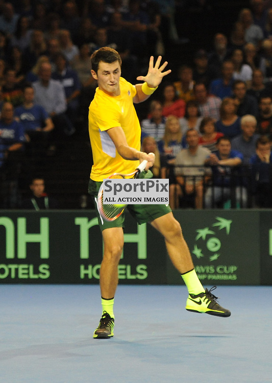 Bernard Tomic in action during the Great Britain v Australia, Semi Finals,  Aegeon Davis Cup by BNP Paribas, Friday 18 September 2015 (c) Angie Isac | SportPix.org.uk