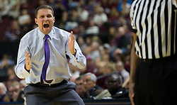 LSU head coach Will Wade reacts to call during the second half of an NCAA college basketball game against Texas A&M Saturday, Jan. 6, 2018, in College Station, Texas. (AP Photo/Sam Craft)