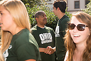 Ohio University President Roderick McDavis welcomes first year students to campus at the student involvement Fair. Photo by Ben Siegel