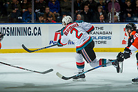 KELOWNA, CANADA - JANUARY 30: James Hilsendager #2 of the Kelowna Rockets takes a shot on net against the Medicine Hat Tigers on January 30, 2017 at Prospera Place in Kelowna, British Columbia, Canada.  (Photo by Marissa Baecker/Shoot the Breeze)  *** Local Caption ***