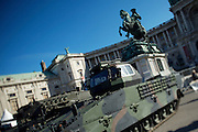 "Hofburg (royal castle), National Library (r.). Prinz Eugen rider monument, Bundesheer (Austrian Army) APC ""Ulan"" during the National Day (October 26) special exhibit."