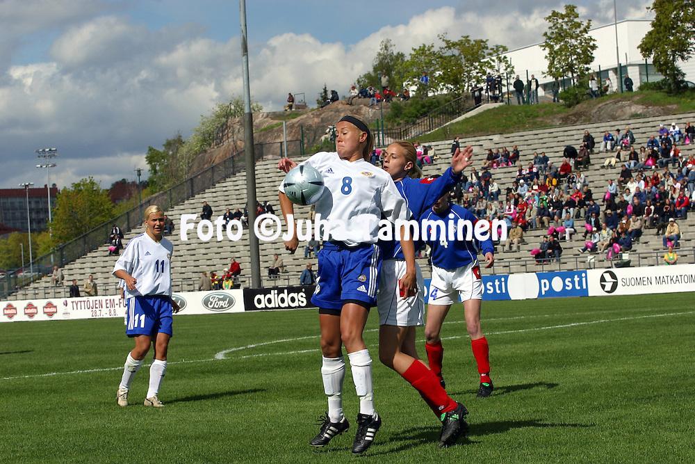 15.05.2004, Pallokentt?, Helsinki, Finland..UEFA Women's European Championship qualifying match, Finland v Serbia-Montenegro.Minna Mustonen (Finland) v Danka Podovac (S-M).©Juha Tamminen