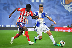April 19, 2018 - San Sebastian, Spain - Thomas Partney of Atletico Madrid duels for the ball with Sergio Canales of Real Sociedad during the Spanish league football match between Real Sociedad and Atletico Madrid at the Anoeta Stadium on 19 April 2018 in San Sebastian, Spain  (Credit Image: © Jose Ignacio Unanue/NurPhoto via ZUMA Press)