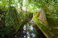 tank traps of the Siegfried line in the river Inde near Schmithof in the south of Aachen, North Rhine-Westphalia, Germany.<br /> <br /> Panzersperren des Westwall im Fluss Inde bei Schmithof im Sueden Aachens, Nordrhein-Westfalen, Deutschland.