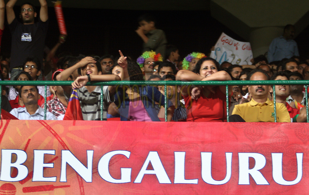 A section of the crowd during match 8 of the the Indian Premier League ( IPL ) Season 4 between the Royal Challengers Bangalore and the Mumbai Indians held at the Chinnaswamy Stadium, Bangalore, Karnataka, India on the 12th April 2011..Photo by Vino John/BCCI/SPORTZPICS