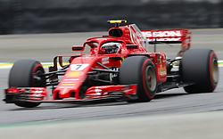 """November 10, 2018 - SãO Paulo, Brazil - SÃO PAULO, SP - 10.11.2018: GRANDE PRÊMIO DO BRASIL DE FÃ""""RMULA 1 2018 - Kimi Räikkönen (RAIKKONEN), FIN, Team Scuderia Ferrari, Ferrari SF71-H during the official training for the Brazilian Grand Prix of Formula 1 2018, held at the Autodromo de Interlagos, in São Paulo, SP. (Credit Image: © Rodolfo Buhrer/Fotoarena via ZUMA Press)"""