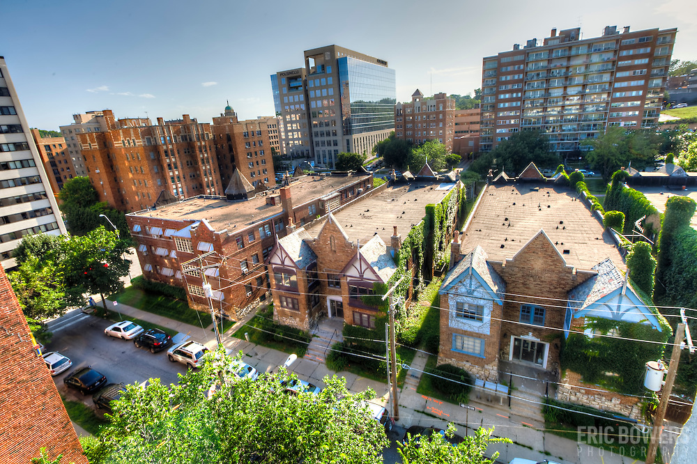 Old apartment buildings on the periphery of the Country Club Plaza in Kansas City, Missouri. Demolition is planned to get underway on these buildings as of June 2015. Designed by architect Nelle Peters.