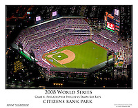 Aerial view of Game 4 of the World Series at Citizens Bank Park.  Philadelphia Phillies vs the Tampa Bay Rays.<br />