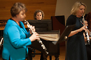 Carla Williams, Music and Special Projects Librarian, plays the harpiscord with an ensemble of faculty and alumni in Glidden Hall during the Faculty and Alumni Centennial Chamber Music Recital on Friday, April 21, 2017. © Ohio University / Photo by Kaitlin Owens