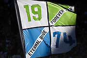 Seattle Sounders fans wave flags during a MLS soccer match against the LA Galaxy on Saturday, September 1, 2019, in Seattle, Washington. (Alika Jenner/Image of Sport via AP)