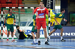 14.01.2011, Himmelstalundshallen, Norrköping, SWE, IHF Handball Weltmeisterschaft 2011, Herren, Österreich vs Brasilien, im Bild, // Austria #7 Janko Bozovic celebrate after a goal // during the IHF 2011 World Men's Handball Championship match Austria vs Brazil at Himmelstalundshallen in Norrkoping, Sweden on 14/1/2011. EXPA Pictures © 2011, PhotoCredit: EXPA/ Skycam/ Michael Buch +++++ ATTENTION - ..OUT OF SWEDEN/SWE +++++