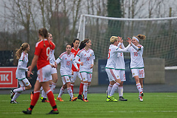 MERTHYR, WALES - Tuesday, February 14, 2017: Hungary's Fanni Vachter celebrates scoring the first goal against Wales during a Women's Under-17's International Friendly match at Penydarren Park. (Pic by Laura Malkin/Propaganda)