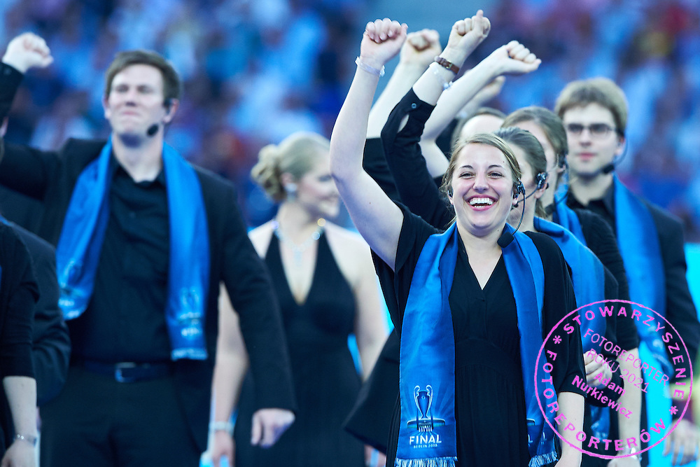 Opening ceremony during the 2014/15 UEFA Champions League Final between Juventus and FC Barcelona at Olympiastadion on June 6, 2015 in Berlin, Germany.<br /> Germany, Berlin, June 6, 2015<br /> <br /> Picture also available in RAW (NEF) or TIFF format on special request.<br /> <br /> For editorial use only. Any commercial or promotional use requires permission.<br /> <br /> Adam Nurkiewicz declares that he has no rights to the image of people at the photographs of his authorship.<br /> <br /> Mandatory credit:<br /> Photo by &copy; Adam Nurkiewicz / Mediasport