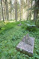 Stone pyramid, marking the location of one of the graves in Falstad Forest...The execution site, Falstad Forest, lies one kilometre south of the Falstad Building. Approximately 220 prisoners were executed here in the period 1942-43. Before liberation on the 8th of May 1945, an unknown number of remains of the executed were sunk in the Trondheim Fjord. Presumably Falstad Forest still conceals unknown graves. During the summer of 1945 known graves were opened and the remains identified. In the years 1945-52, a total number of 49 graves were found in Falstad Forest. The burial places are today marked with stone pyramids. Names of the executed are carved on a cenotaph in the forest. For prisoners of Yugoslav or Soviet Russian origin, Falstad served as a death camp...A monument in Falstad Forest was unveiled by HRH Crown Prince Olav in 1947. Falstad Forest is today a national cultural monument and a war grave site...Steinpyramide som markerer et av gravstedene i Falstadskogen...Falstadskogen ligger en kilometer sør for Falstadbygningen. Vel 220 fanger ble henrettet her i årene 1942-44. Av dem var 43 nordmenn, om lag 74 jugoslaver og over 100 sovjetere. Falstad var en dødsleir for jugoslaviske og sovjetiske krigsfanger...I juni 1945 ble de første påviste gravstedene åpnet og døde iden-tifisert. I årene 1945-52 ble totalt 49 graver funnet i Falstad-skogen, flere av dem massegraver. Gravstedene er i dag markert med steinpyramider. I skogen ligger en minneplate med navn på henrettede. Trolig finnes fortsatt ukjente graver i Falstadskogen...Daværende Kronprins Olav avduket i 1947 et minnemonument i Falstadskogen. Falstadskogen er i dag et nasjonalt kulturminne og en offentlig krigsgravplass.