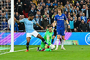 Kepa Arrizabalaga (1) of Chelsea makes a save during the Carabao Cup Final match between Chelsea and Manchester City at Wembley Stadium, London, England on 24 February 2019.