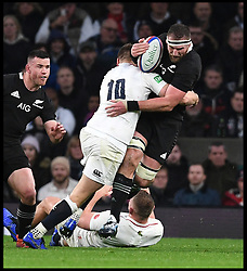 November 10, 2018 - London, London, United Kingdom - England face the All Blacks at Twickenham Stadium during the Quilter Internationals 2018. New Zealand Kieran Read is tackled by England's Owen Farrell during the Quilter Internationals 2018 game at Twickenham  (Credit Image: © Andrew Parsons/i-Images via ZUMA Press)