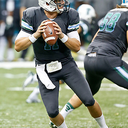 Sep 7, 2013; New Orleans, LA, USA; Tulane Green Wave quarterback Nick Montana (11) looks to throw against the South Alabama Jaguars during the first quarter of a game at the Mercedes-Benz Superdome. Mandatory Credit: Derick E. Hingle-USA TODAY Sports