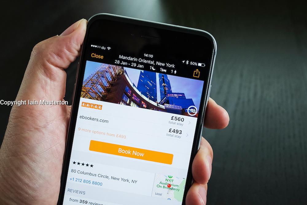 Kayak hotel booking app showing luxury New York Hotel on iPhone 6 Plus smart phone