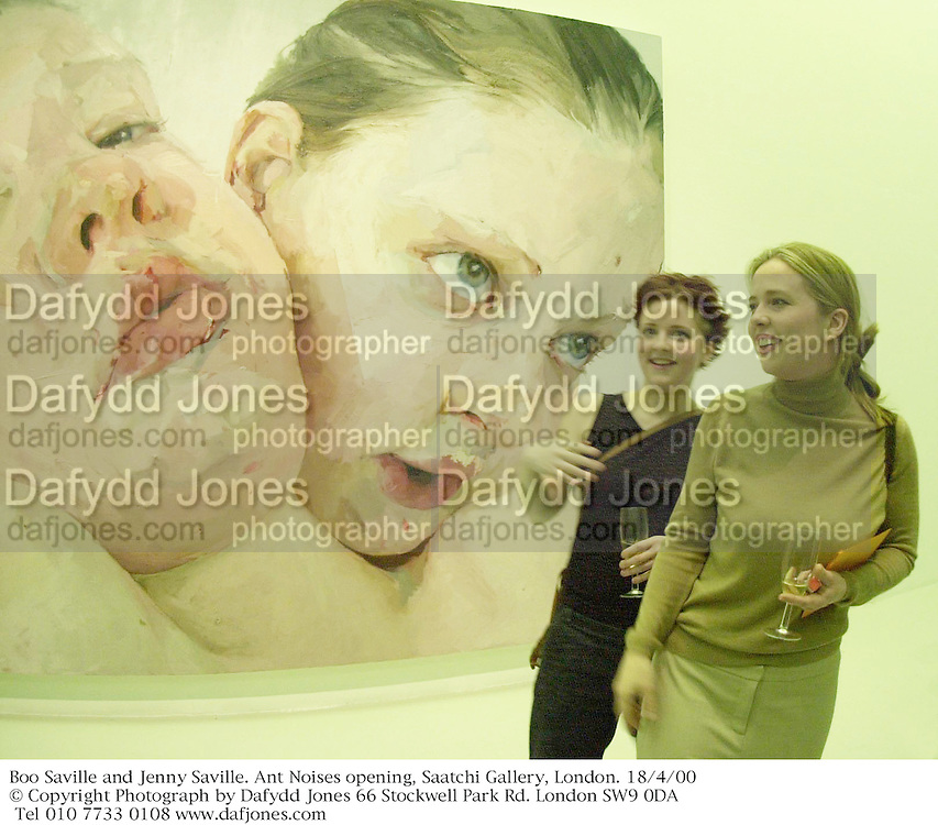 Boo Saville and Jenny Saville. Ant Noises opening, Saatchi Gallery, London. 18/4/00<br />&copy; Copyright Photograph by Dafydd Jones 66 Stockwell Park Rd. London SW9 0DA Tel 010 7733 0108 www.dafjones.com