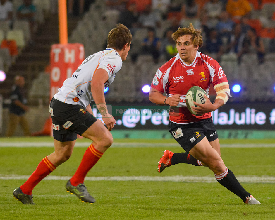 Rohan Janse van Rensburg of the Lions and William Small-Smith of the Free State Cheetahs  during the Currie Cup Premier division match between the The Free State Cheetahs and the Lions held at Toyota Stadium (Free State Stadium), Bloemfontein, South Africa on the 15th September 2016<br /> <br /> Photo by:   Frikkie Kapp / Real Time Images