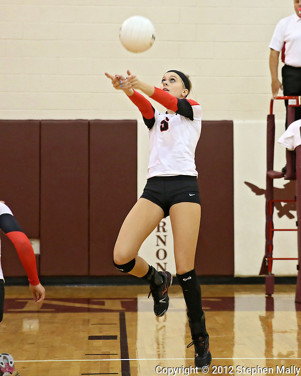 Maquoketa's Allison Vandemore (5) eyes the ball during the WaMaC Tournament semifinal game at Mount Vernon High School in Mount Vernon on Thursday October 11, 2012. Maquoketa defeated Dyersville Beckman 25-16, 25-20.
