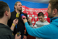 Tomasz Majewski (polish shot put athlete) during press conference before athletics meeting Pedro's Cup 2014 at Press Centre of Polish Press Agency in Warsaw, Poland.<br /> <br /> Poland, Warsaw, January 14, 2014.<br /> <br /> Picture also available in RAW (NEF) or TIFF format on special request.<br /> <br /> For editorial use only. Any commercial or promotional use requires permission.<br /> <br /> Mandatory credit:<br /> Photo by © Adam Nurkiewicz / Mediasport