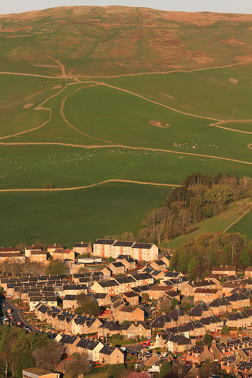 The central border town of Galashiels on an early spring morning - looking across to Meigle Hill