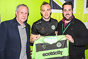 Match sponsor with MOM Forest Green Rovers Joseph Mills(23)  during the EFL Sky Bet League 2 second leg Play Off match between Forest Green Rovers and Tranmere Rovers at the New Lawn, Forest Green, United Kingdom on 13 May 2019.
