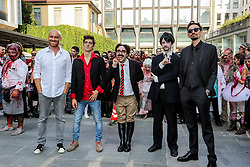 Participants dressed as zombies during the Dylan Dog 30th anniversary zombie walk in Milan, Italy.
