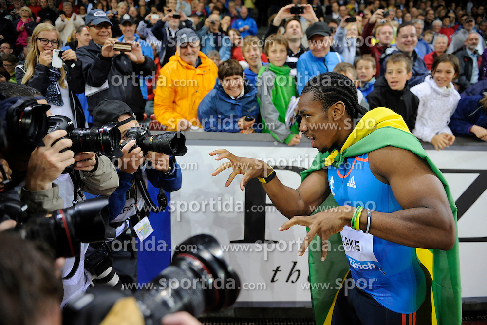 30.08.2012, Stadion Letzigrund, Zuerich, SUI, Leichtathletik, Weltklasse Zurich 2012, im Bild Sieger Yohan Blake (JAM), 100m Maenner // during Athletics World Class Zurich 2012 at Letzigrund Stadium, Zurich, Switzerland on 2012/08/30. EXPA Pictures © 2012, PhotoCredit: EXPA/ Freshfocus/ Valeriano Di Domenico..***** ATTENTION - for AUT, SLO, CRO, SRB, BIH only *****
